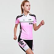 Mysenlan ショーツ付きサイクリングジャージー 女性用 半袖 バイク 洋服セット 速乾性 抗紫外線 透湿性 高通気性 (>15,001g) 高通気性 ポリエステル エラステイン ファッション 縞柄 夏 レジャースポーツ サイクリング/バイク ピンク