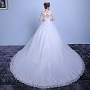 De Baile Cauda Catedral Renda Cetim Tule Vestido de casamento com Renda de JUEXIU Bridal