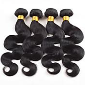 Cabello humano Cabello Brasileño Tejidos Humanos Cabello Ondulado Grande Extensiones de cabello 4 Piezas Negro Negro Color natural