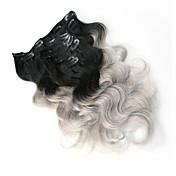 8a 100% clip de gris ombre en extensiones de cabello humano pinza de pelo de Brasil en la onda del cuerpo de extensión