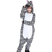Kigurumi Pyžama Zebra Leotard/Kostýmový overal Festival/Svátek Animal Sleepwear Halloween Bílá / Černá Patchwork Flanel Kigurumi Pro