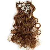 18 Inch 7pcs/set largo clip ondulado sintético en extensiones de cabello con clips de 16 - 16 colores disponibles