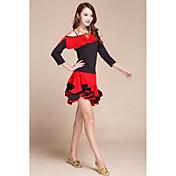 Baile Latino Accesorios Mujer Representación Satén elástico (tacto seda) 2 Piezas Manga de longitud 3/4 Cintura Alta Top Falda