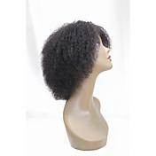 女性 人間の毛のキャップレスウィッグ ジェットブラック ブラック ダークブラウン ジェットブラック ブラック ショート丈 Kinky Curly ミドル部