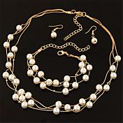 Mujer Juego de Joyas Pendientes colgantes Collares de cadena Collar con perlas Moda Multi capa Elegant Nupcial joyería de disfraz Perla