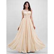 Linha A Longo Chiffon Baile de Fim de Ano Evento Formal Vestido com Pregueado Flor(es) Cruzado de TS Couture®