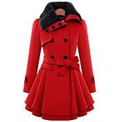 TS 女性 カジュアル/普段着 冬 ソリッド コート,キュート シャツカラー レッド / ブラウン ウール / コットン 長袖 厚手