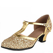 Nemoguće personalizirati-Ženske-Plesne cipele-Latino / Moderni-Sitne šljokice-Niska potpetica-Srebrna / Zlatna