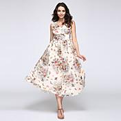 Dámské Květiny / Nabírané šaty Maxi Polyester / Jiné Šaty Kulatý Bez rukávů