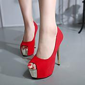 Mujer-Tacón Stiletto-Confort-Tacones-Informal-Ante-Negro Rojo