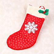 1個スノーフレーククリスマスストッキングの装飾キャンディーバッグギフトクリスマスツリーの装飾