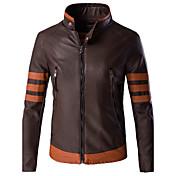 男性用 カラーブロック / パッチワーク カジュアル / フォーマル / プラスサイズ ジャケット,長袖,特殊皮革タイプ,ブラウン
