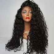 最高品質の繊維緩い巻き毛のかつら合成レースフロントは180%密度黒色耐熱人工毛かつらをかつら