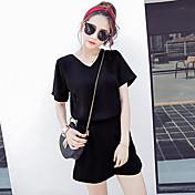 女性 カジュアル/普段着 夏 Tシャツ パンツ スーツ,ストリートファッション Vネック ソリッド ブラック / グレイ コットン 半袖 薄手