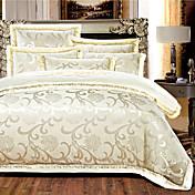 花柄 布団カバーセット 4個 シルク ラグジュアリー 刺繍 シルク フル 幅200 x 長さ230cm / クィーン 幅224 x 長さ234cm 4枚(1x布団カバー、1xフラットシート、2xシャム)