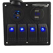 12v-24v dc 4 banda impermeable azul marino llevó a cambiar de panel con toma de corriente led y 4.2a voltímetro USB