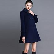 Mujer Chic de Calle Noche / Tallas Grandes Un Color Abrigo,Cuello Camisero Manga Larga Otoño / Invierno Cachemira / Poliéster Azul Medio