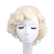 女性 人工毛ウィッグ キャップレス カーリー ブリーチブロンド キャップレスウィッグ ハロウィンウィッグ カーニバルウィッグ コスチュームウィッグ