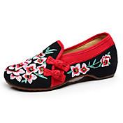 Mujer-Tacón Plano-Confort Zapatos bordados-Bailarinas-Informal-Tela-Negro