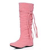 Mujer Zapatos Vellón Primavera Otoño Invierno Botas de Moda Botas Tacón Cuña Borla Para Boda Casual Vestido Negro Beige Marrón Rosa