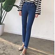 De las mujeres Pantalones Ajustado / Delgado-Simple Elástico-Algodón