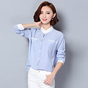 De las mujeres Simple Trabajo Otoño Camisa,Escote Chino A Rayas Manga Larga Algodón / Lino Azul Fino