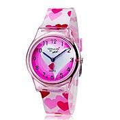 Niño Reloj de Pulsera Cuarzo Colorido Plastic Banda Heart Shape Caramelo Cool Casual Rosa Rosa