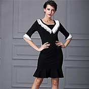 Baoyan® 女性 Vネック 五分袖 膝上 ドレス-160270