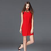frmz mujeres salir de la vaina sencilla dresssolid cuello redondo mini mangas mediados de altura media inelástica