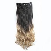 clip de 24inch7pcs / conjunto de extensiones de cabello rizado de cabello ondulado natural de tinte por inmersión ombre calor a largo