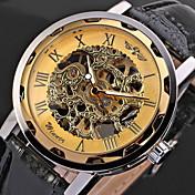 WINNER 男性 スケルトン腕時計 リストウォッチ 機械式時計 透かし加工 手巻き式 PU バンド クール ブラック