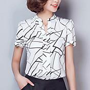 Mujer Simple Chic de Calle Trabajo Verano Camisa,Escote en Pico Geométrico Manga Corta Rayón Poliéster Fino