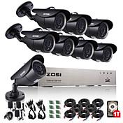 zosi®8ch ahd 720p dvr 1tb hdd 8pcs 1.0 mp cctvカメラ監視システム
