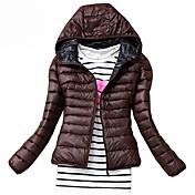 Dámské Standardní S vycpávkou Jednoduché Běžné/Denní Jednobarevné-Kabát Polyester Polyester Dlouhý rukáv Kapuce Červená / Černá / Zelená