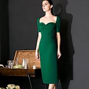 Mujer Vaina Vestido Formal Sexy / Simple,Un Color Escote Corazón Hasta la Rodilla Manga Corta Verde Nailon Primavera / Verano Tiro Alto
