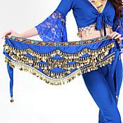 Pañuelos de Cadera para Danza del Vientre Mujer Entrenamiento Poliéster Cuentas Monedas de oro 1 PiezaAnimales Navidad Halloween Princesa