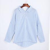Mujer Chic de Calle Casual/Diario Otoño Camisa,Cuello Camisero A Rayas Manga Larga Poliéster Azul / Negro Medio