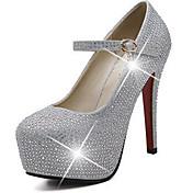 女性-ウェディング パーティー-レザー グリッター-スティレットヒール プラットフォーム-プラットフォーム コンフォートシューズ クラブシューズ 靴を点灯-ヒール-シルバー
