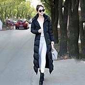 コート ロング ダウン 女性,カジュアル/普段着 ソリッド コットン ポリプロピレン-シンプル 長袖 フード付き ブラック