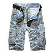 メンズ ビンテージ シンプル パンク&ゴシック ミッドライズ ストレート 非弾性 ショーツ パンツ ゼブラプリント カラーブロック