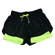 Women's Fashion Mesh Elastic Waist Quick Dry Sports Fitness Running Yoga Shorts with Safety Pants