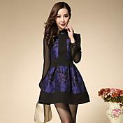 Mujer Vaina Vestido Noche Sofisticado,Floral Escote Chino Sobre la rodilla Manga Larga Azul Otro Verano Tiro Alto Rígido Grueso