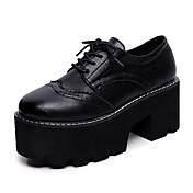 Oxfords-PU-Komfort-Dame-Sort Brun-Udendørs-Flad hæl