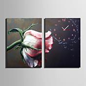 Moderno/Contemporáneo Floral/ Botánico Reloj de pared,Rectangular Lienzo35X50cm(14inchx20inch)x2pcs/ 40 x 60cm(16inchx24inch)x2pcs/ 50 x
