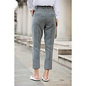 ハンサムなストライプのストライプのストッキングウエストが細いテーパーパンツスーツパンツスーツ女性のスポットだった署名