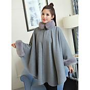 女性 カジュアル/普段着 冬 ソリッド コート,シンプル グレイ / イエロー ウール 長袖 厚手