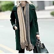 女性 カジュアル/普段着 秋 / 冬 ソリッド コート,シンプル グリーン ウール 長袖 厚手