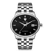 Tevise Hombre Mujer Pareja Reloj de Moda El reloj mecánico Cuarzo Calendario Resistente al Agua Luminoso Acero Inoxidable BandaCosecha