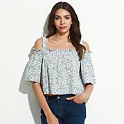 夏 Tシャツ,シンプル / キュート ストラップ ソリッド ブルー / ピンク コットン 半袖 ミディアム