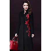 Mujer Simple Casual/Diario Tallas Grandes Bordado Abrigo Manga Larga Invierno Lana Rojo Negro Grueso